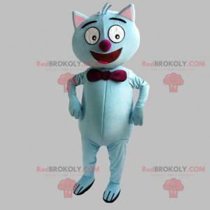 Maskot modrá kočka s červeným motýlkem - Redbrokoly.com