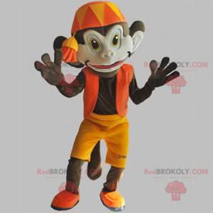 Maskot hnědá opice s oranžovým oblečením. Abu maskot -