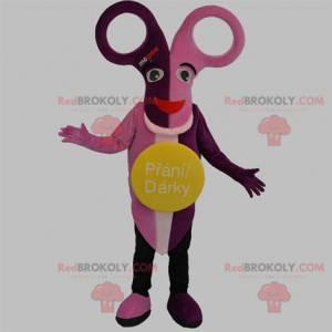 Maskot růžové a fialové nůžky - Redbrokoly.com