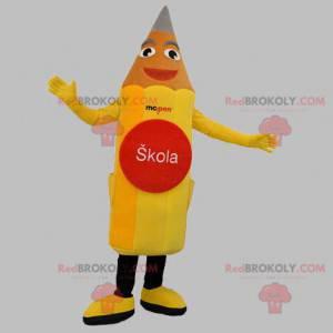 Obří a usměvavý maskot žluté tužky - Redbrokoly.com