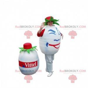 Weißes und rundes Wasserflaschenmaskottchen. Volvic Maskottchen
