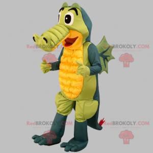 Graugrünes und gelbes Krokodilmaskottchen. Drachenmaskottchen -