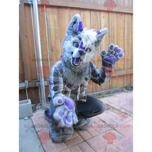 Šedý a fialový pes maskot všechny chlupaté - Redbrokoly.com