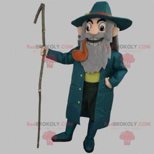 Maskottchen alter Mann Kapitän trägt blau mit einer Pfeife -
