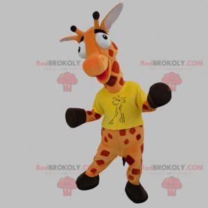 Mascotte gigante arancione e rossa della giraffa -