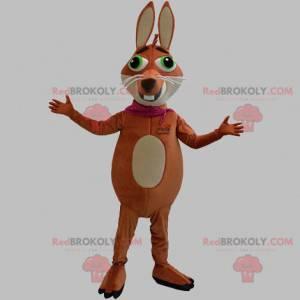 Braunes und beige Fuchsmaskottchen mit grünen Augen -