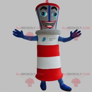 Giant lighthouse mascot blue red gray and white - Redbrokoly.com
