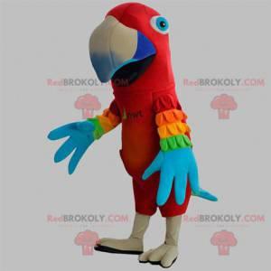 Maskot červený papoušek s barevnými křídly - Redbrokoly.com