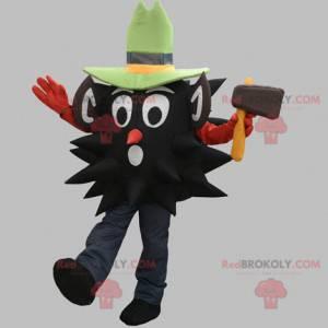 Černý dřevorubec maskot s kloboukem - Redbrokoly.com
