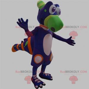 Purple green and orange creature dinosaur mascot -