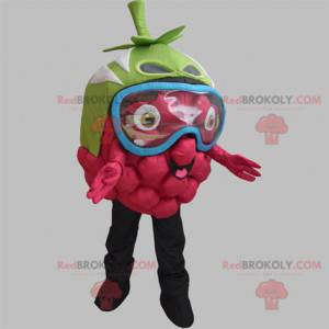 Giant raspberry mascot with a mask on the eyes - Redbrokoly.com