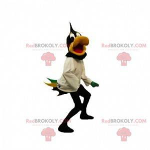Schwarzes und gelbes Entenmaskottchen. Daffy Duck Maskottchen -
