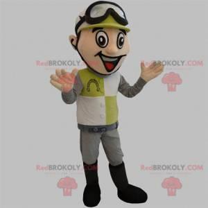 Jockey maskot med hjelm og briller - Redbrokoly.com