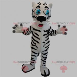 Weißes und schwarzes Tigermaskottchen mit blauen Augen -