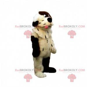 Weiches und haariges weißes und braunes Hundemaskottchen -