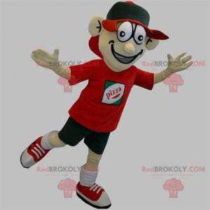 Pizza delivery man mascot. Teenager mascot - Redbrokoly.com
