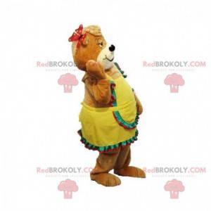 Brun teddy maskot med gul kjole - Redbrokoly.com