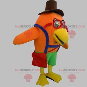 Oranžový pták maskot s brýlemi a klobouk - Redbrokoly.com