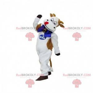 Maskotka biało-brązowa krowa z dzwonkiem - Redbrokoly.com