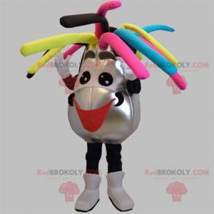 Maskot stříbrný a černý sněhulák s barevnými vlasy -