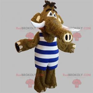 Maskot hnědý mamut s pruhovaným oblečením - Redbrokoly.com
