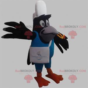 Czarny ptak sroka maskotka w strój dostawy - Redbrokoly.com