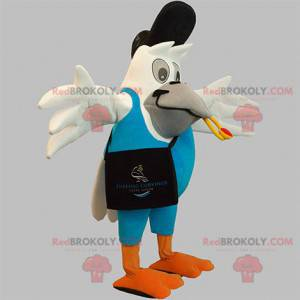Giant white bird mascot in postman outfit - Redbrokoly.com