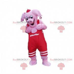 Rosa Schweinemaskottchen mit rotem Overall - Redbrokoly.com