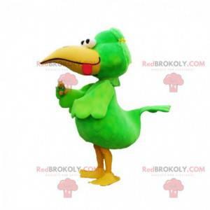 Zabawna i kolorowa maskotka duży zielony i żółty ptak -