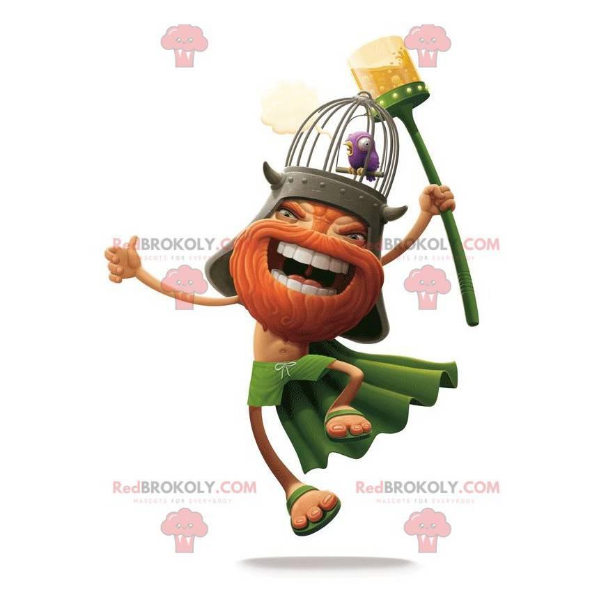 Vousatý maskot Viking oblečený v oranžové a zelené barvě -