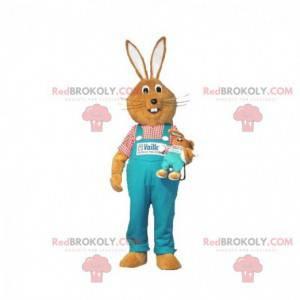 Brown rabbit mascot with blue overalls - Redbrokoly.com