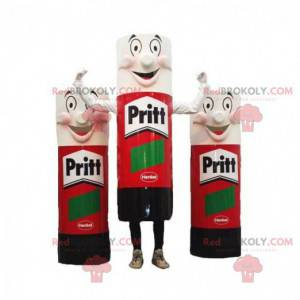 3 mascots of giant red, black and white tubes of glue -