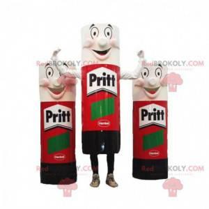 3 maskoter med gigantiske røde, svarte og hvite limrør -