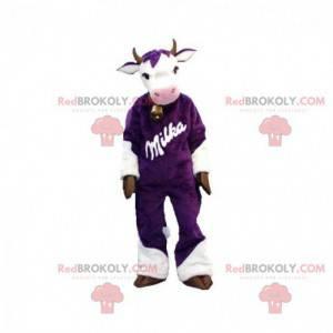 Purple and white cow mascot. Milka mascot - Redbrokoly.com