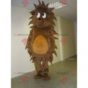 Mascote porco-espinho marrom e laranja fofo e fofo -