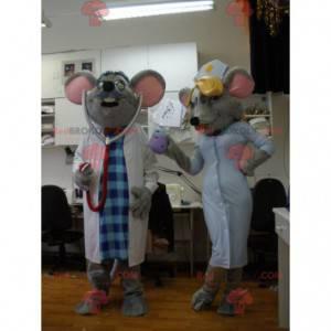 2 myší maskoti oblečeni jako lékař a zdravotní sestra -