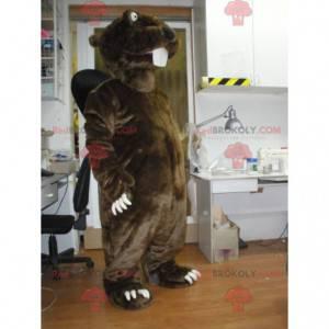 Giant brown and black beaver mascot - Redbrokoly.com