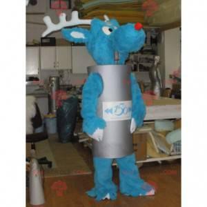Niebieska maskotka renifera z szarym cylindrycznym strojem -