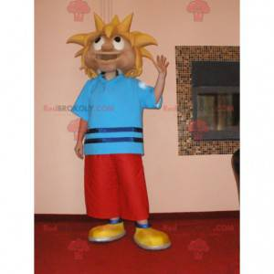 Blond boy teenager mascot in vacationer outfit - Redbrokoly.com