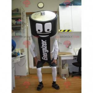 Mascote gigante da bateria Energizer preto e cinza -
