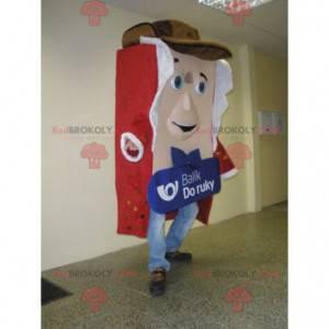Kjempepakke maskot kledd i rødt og hvitt - Redbrokoly.com