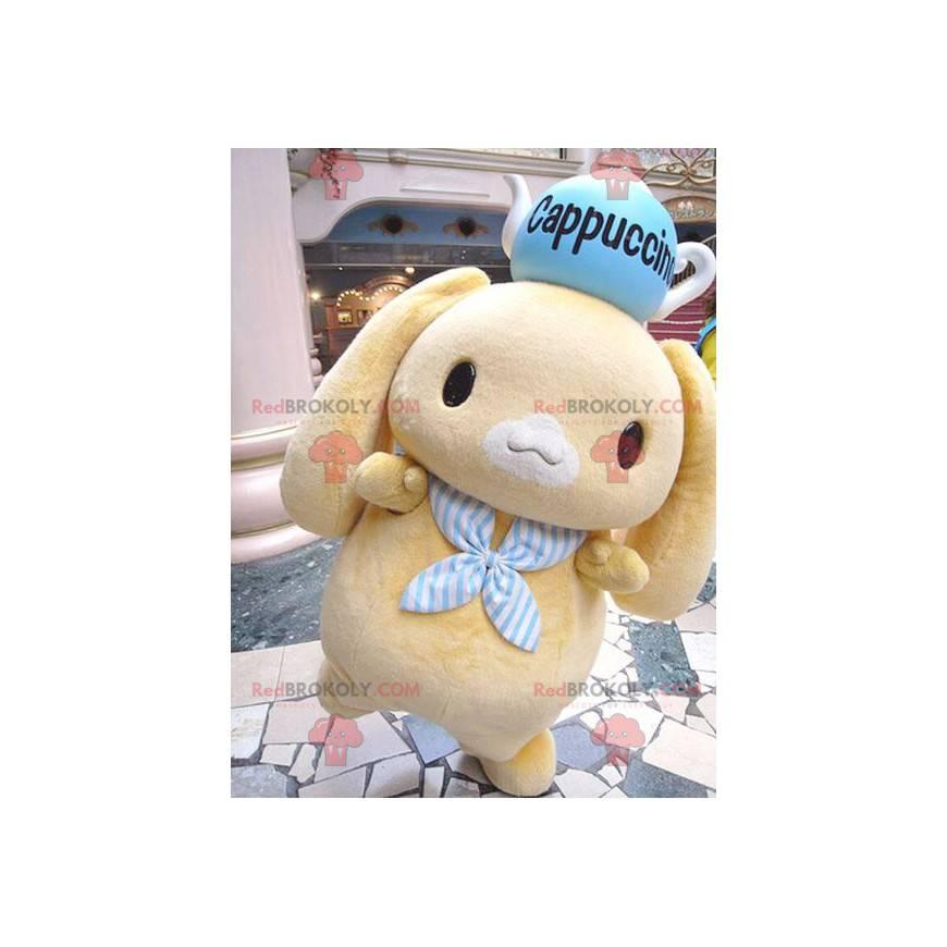 Maskot malý žlutý králík s konvici na hlavě - Redbrokoly.com