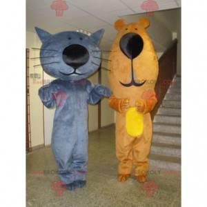 2 maskoti, modrá kočka a medvěd hnědý - Redbrokoly.com