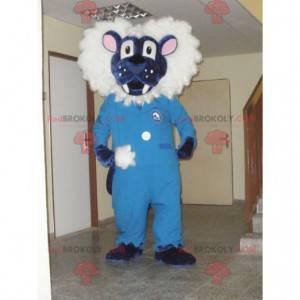 Blaues und weißes Löwenmaskottchen. Tiger Maskottchen -
