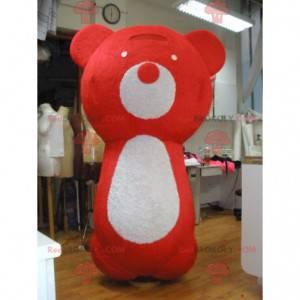 Velký maskot červeného a bílého medvídka - Redbrokoly.com