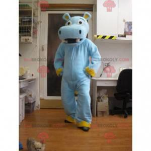 Mascote hipopótamo azul e amarelo - Redbrokoly.com