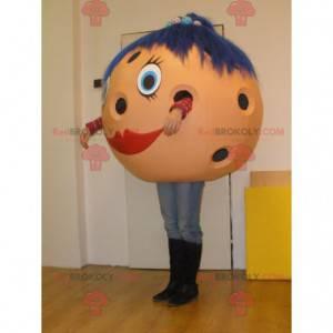 Bowling ball mascot with blue hair - Redbrokoly.com