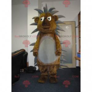 Mascote porco-espinho marrom e cinza fofo e engraçado -