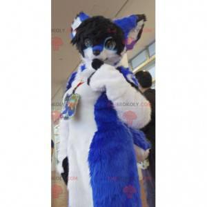 Blue white and black cat mascot - Redbrokoly.com