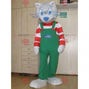 Graues Katzenmaskottchen mit gestreiftem Outfit und Overall -